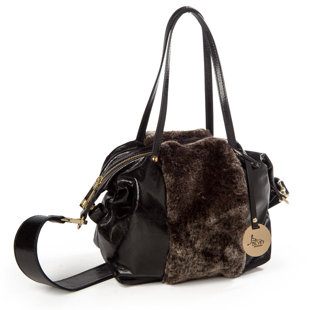 ONE & ONLY Leather Bag with Faux-Fur Trim (28007M9)
