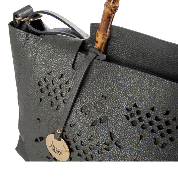 ONE & ONLY Dollaro Perforated Leather Tote with Genuine Bamboo Handle (28009M11)