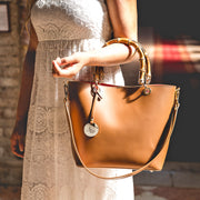 BAMBOO handles and Ruga Leather Satchel (B122 Bamboo)