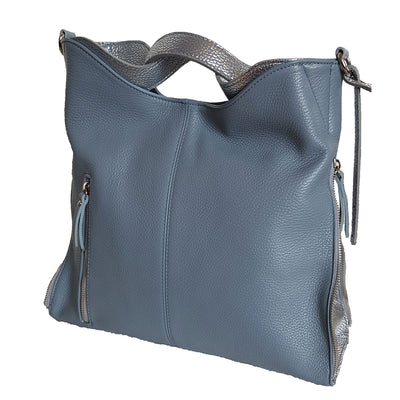 Dollaro Leather & Laminated Silver Shoulder Bag (B127)