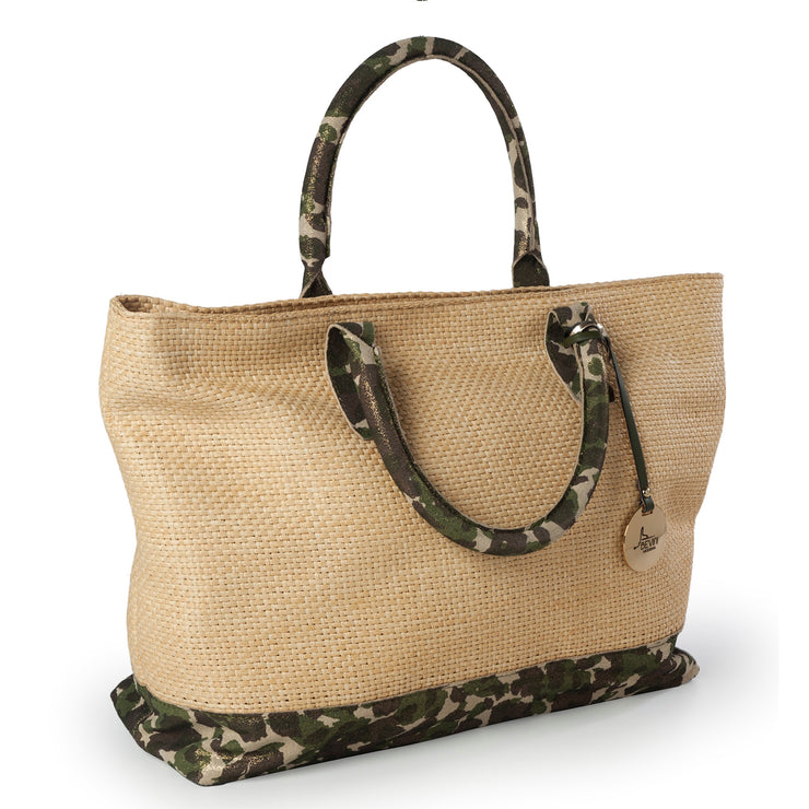ONE & ONLY Pearl & Straw Camouflage Tote (B173)