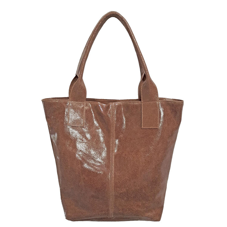 Crinkled Suede Leather Tote (B189)