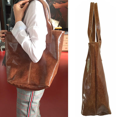 ONE & ONLY Crinkled Suede Leather Tote (B189)