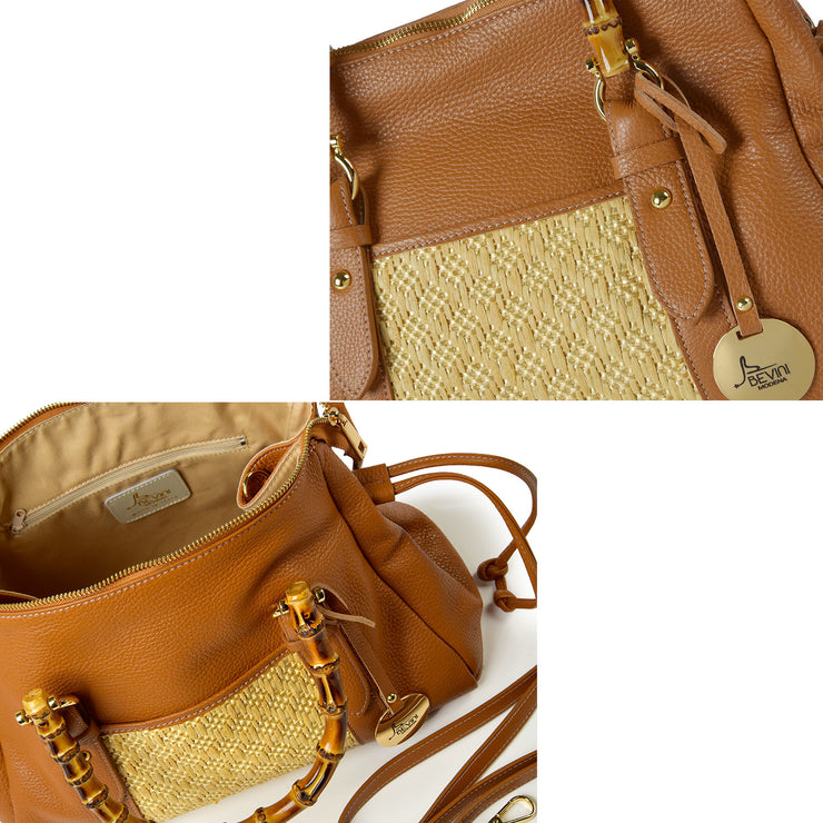 ONE & ONLY Rafia and Dollaro Leather with Genuine Bamboo Handles  (B191P)