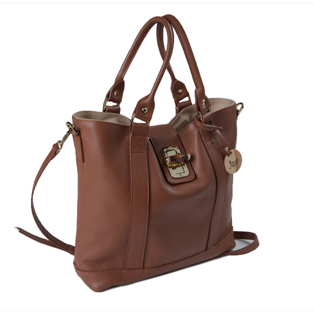 Small or Large Leather Tote with reversed handles (B196)
