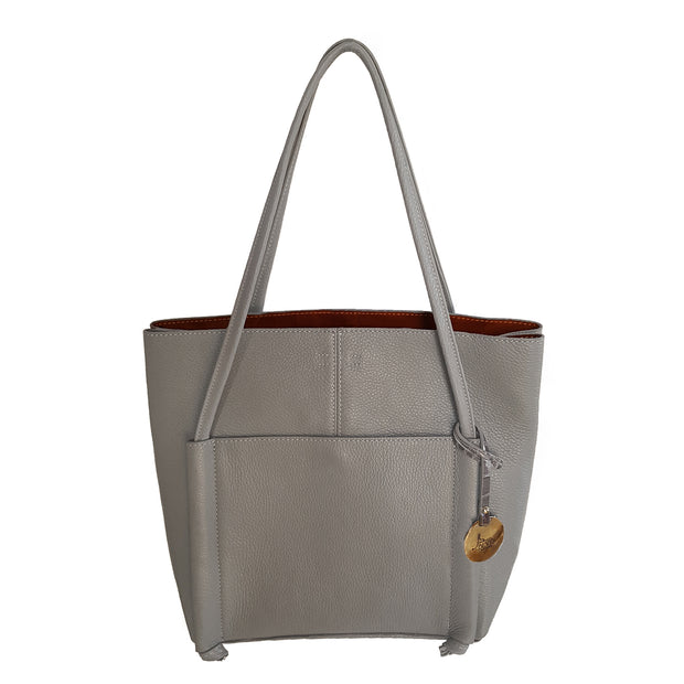 ONE & ONLY Dollaro Leather Mid Size Tote Bag (B219)