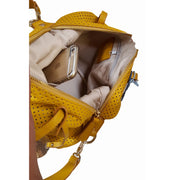 Siena Leather Yellow Perforated Bag  (B23)