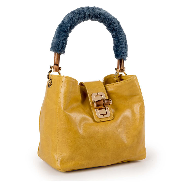 ONE & ONLY Bamboo Mini Bucket Leather Bag (B27 Bamboo)