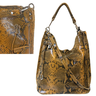 Python printed Leather Large Shoulder Bag (B288)