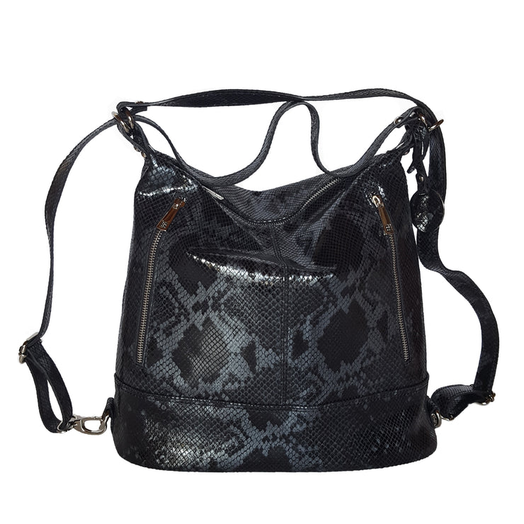 Python printed Leather - Convertible Backpack/Tote (B290PY)