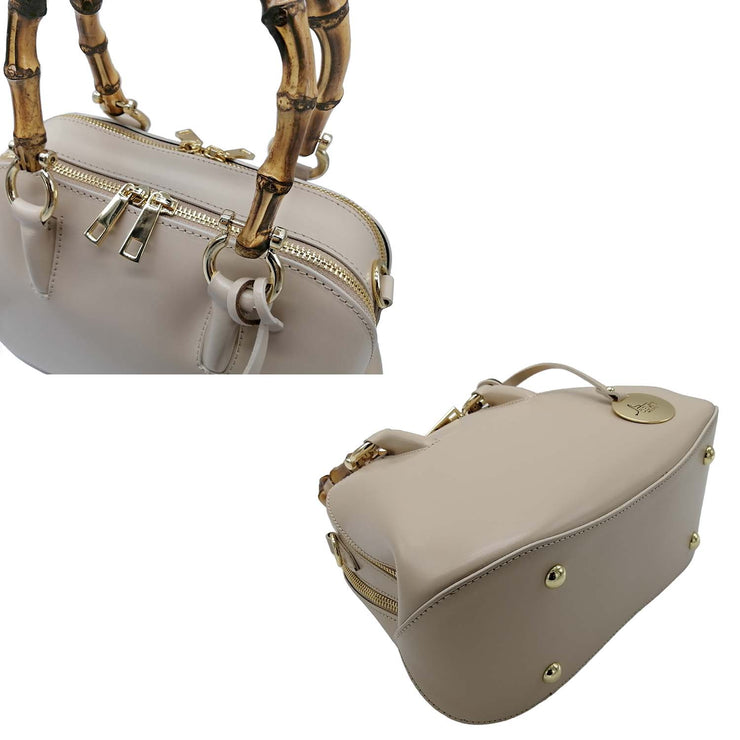 Classic Leather Bag with Bamboo Handles (B299 Bamboo)