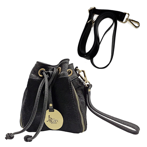 Mini Pouch Wristlet / Cross Body in Haircalf Leather (B301)