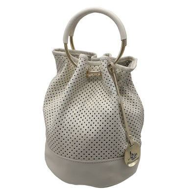Perforated Sauvage Soft Leather Mini Bucket (B325)