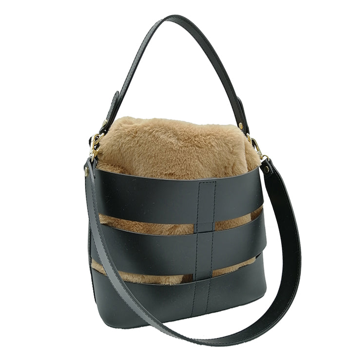 Ruga Leather Bucket Tote with removable shearling interior sachet (B367)