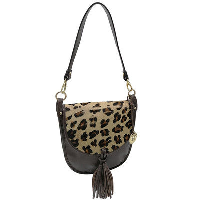 Dollaro and Leopard print Haircalf Tote-Cross Body BELLOWS (B369)