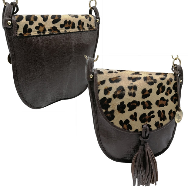 Our BELLOWS Dollaro and Leopard Print Haircalf Tote-Cross Body (B369)