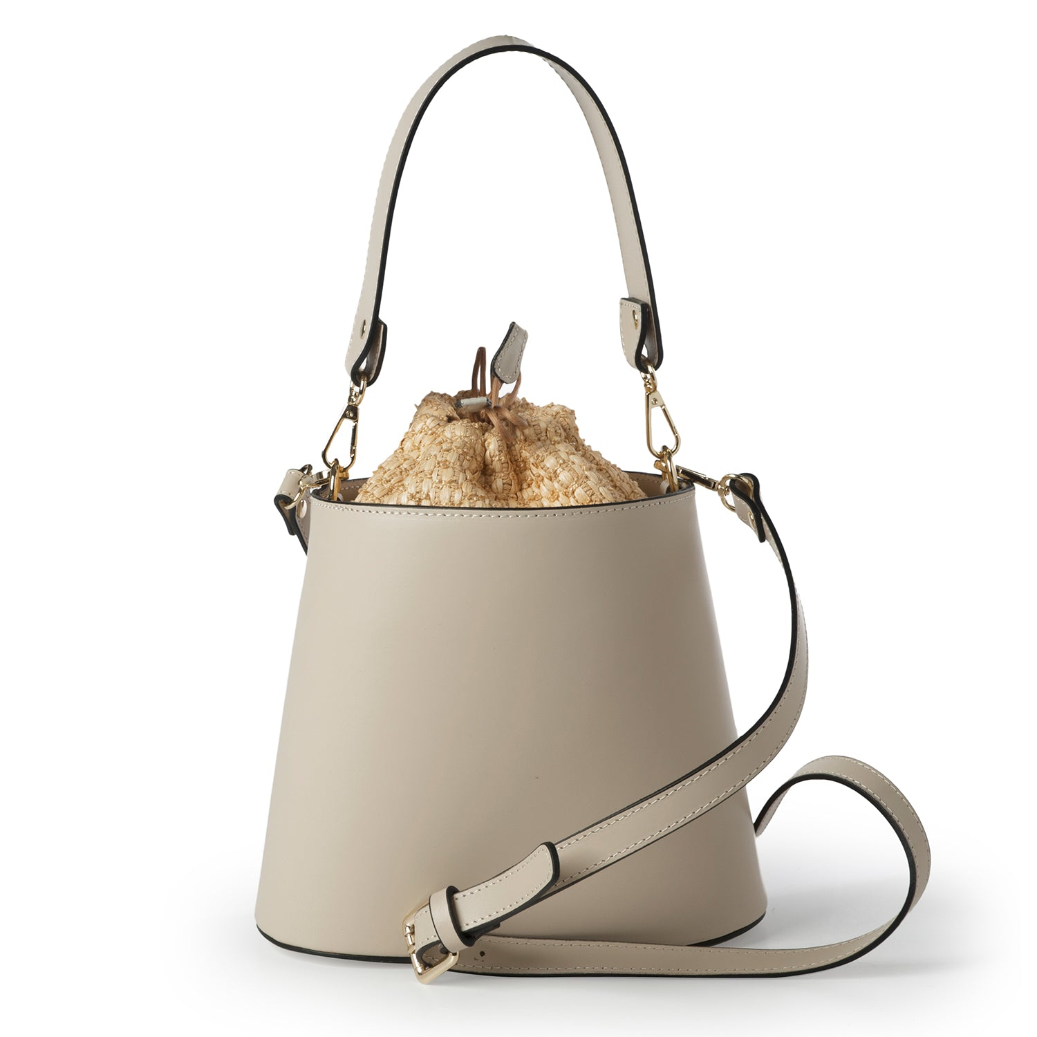 Ruga Leather & Straw Bucket Bag (B51M)