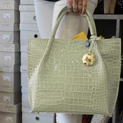 Croc Print Leather, Mid-Size Tote (B5)