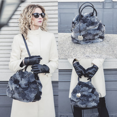 ONE & ONLY Ruga Leather & Black Mantra Faux Fur Tote (B74)