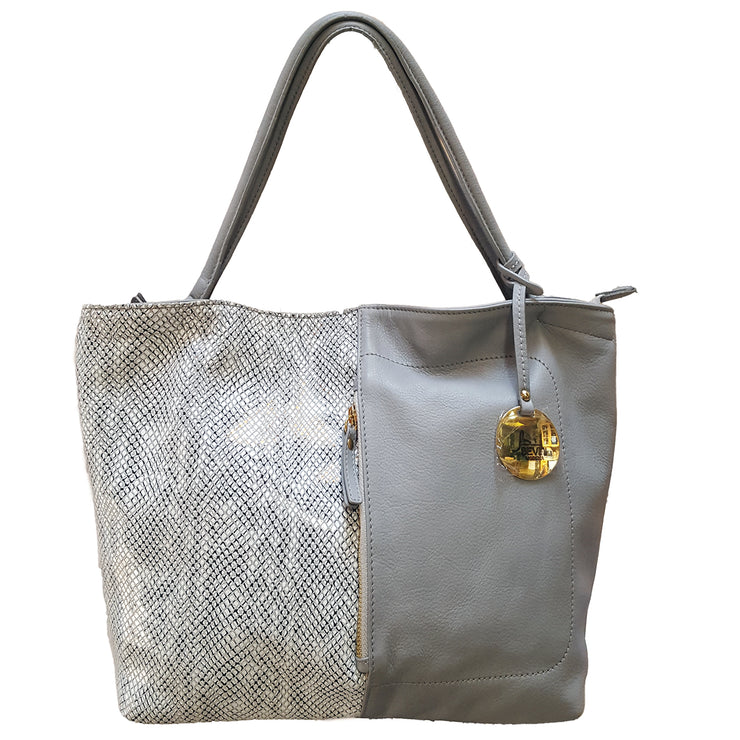 Siena & Python print Leather Handbag (B77X)