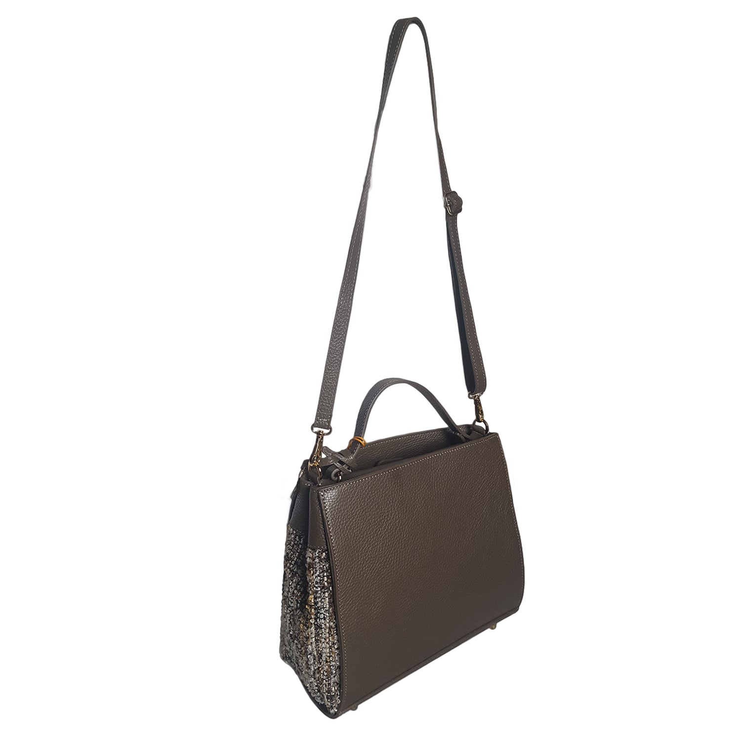 Classic Dollaro Leather & Wool Tote (28010M5)
