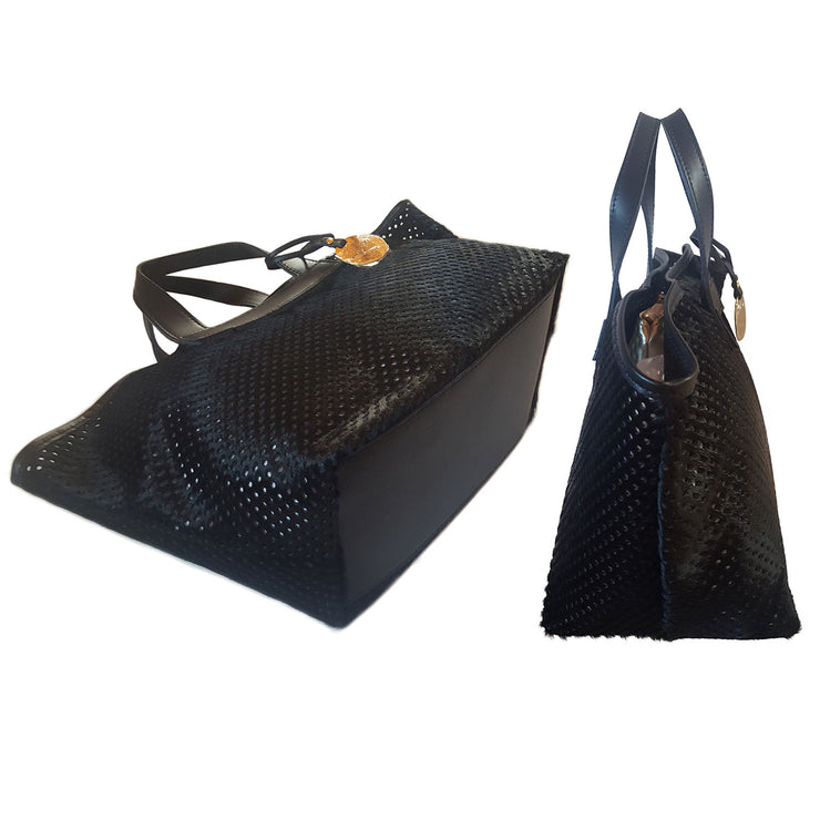 Perforated HAIRCALF Leather Tote (Q10)