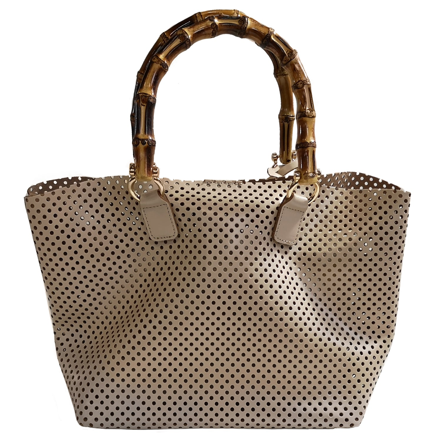 ONE & ONLY Soave Perforated Leather small Tote Bag w/ Bamboo handles (Q10B)