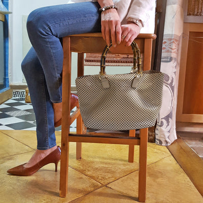 Perforated SOAVE Leather small Tote Bag w/ Bamboo handles (Q10B)