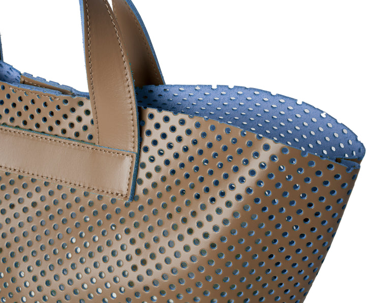 Perforated SOUVAGE dual Leather Small Tote Bag (Q10 Perforated)