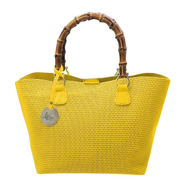 Perforated Fluo Leather Tote with Bamboo handles (Q10Fluo Bamboo)