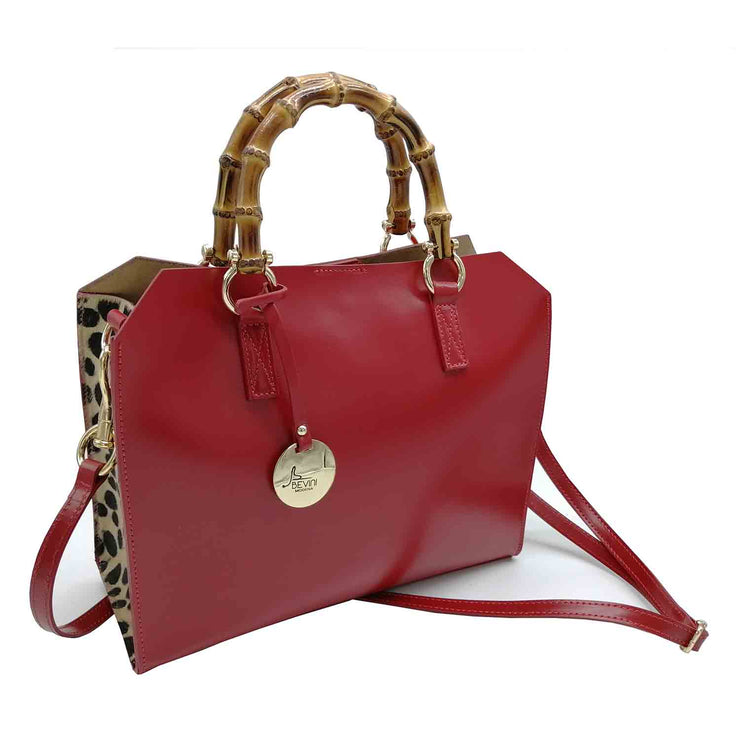 SOPHIA Leather handbag with Haircalf sides trim and genuine Bamboo Handles (S001 Cav)