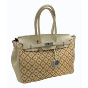 Rafia & Dollaro Leather Checkered Tote- Capsule Collection (WA01)