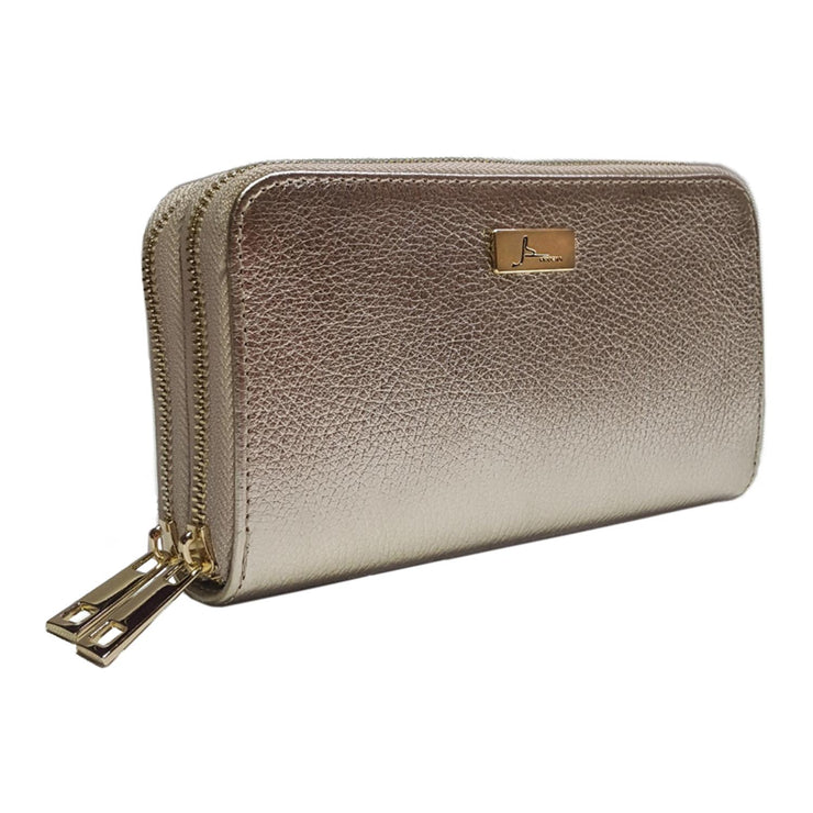 Dual Compartments WALLET in Haircalf Laether (W08)
