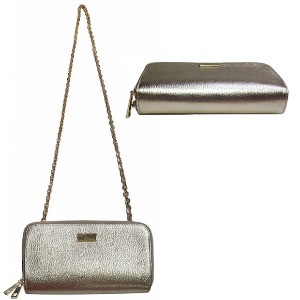Dual Compartments Leather WALLET with Chain (W08-AFG)