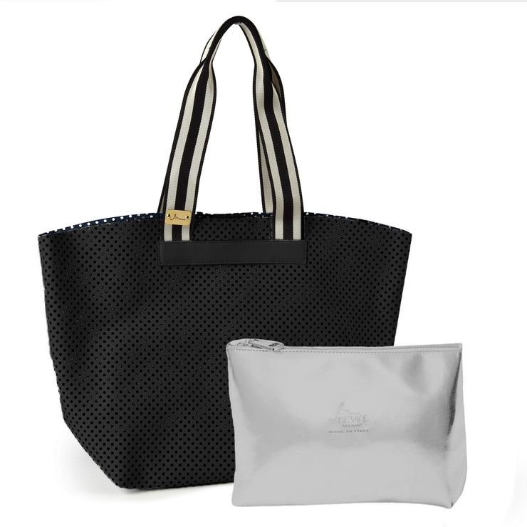 Perforated Large Soave Leather Tote Bag (Q11)