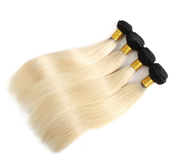 Blonde Black Roots Straight hair