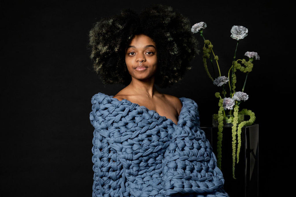 blue handmade crocheted weighted blanket
