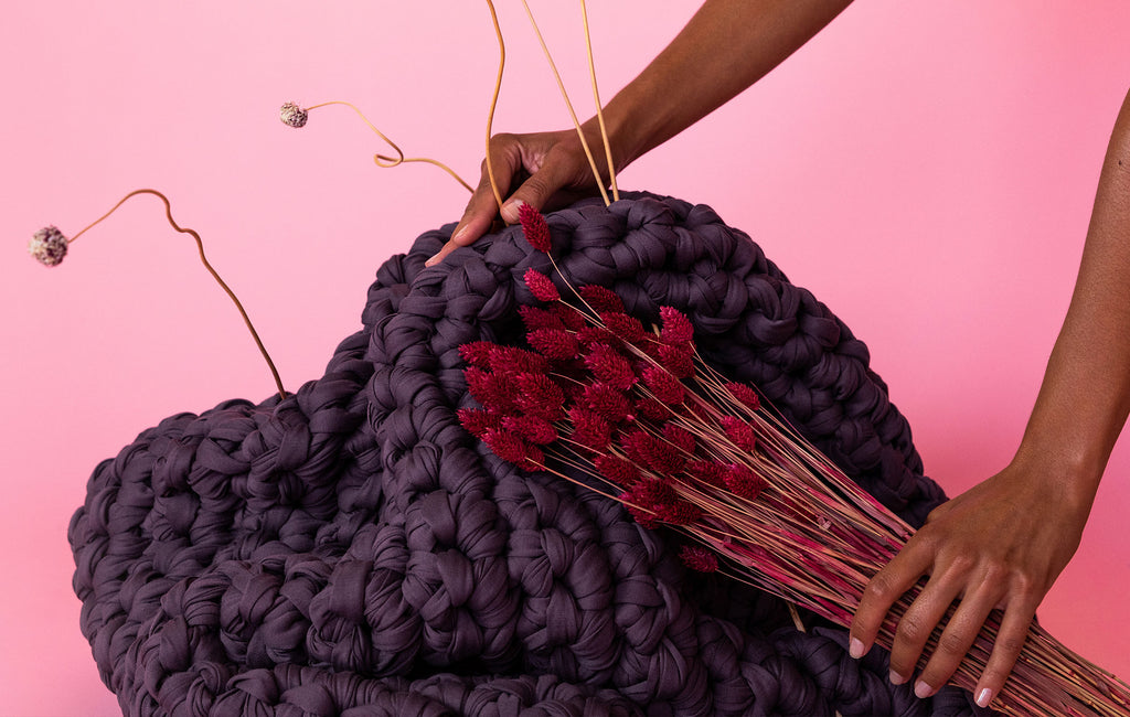 purple handmade crocheted weighted blanket