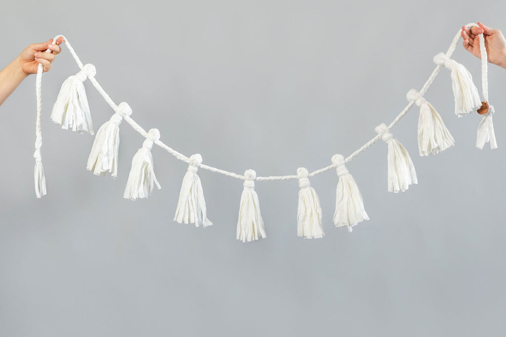 white recycled cotton fabric garland for home and party decoration