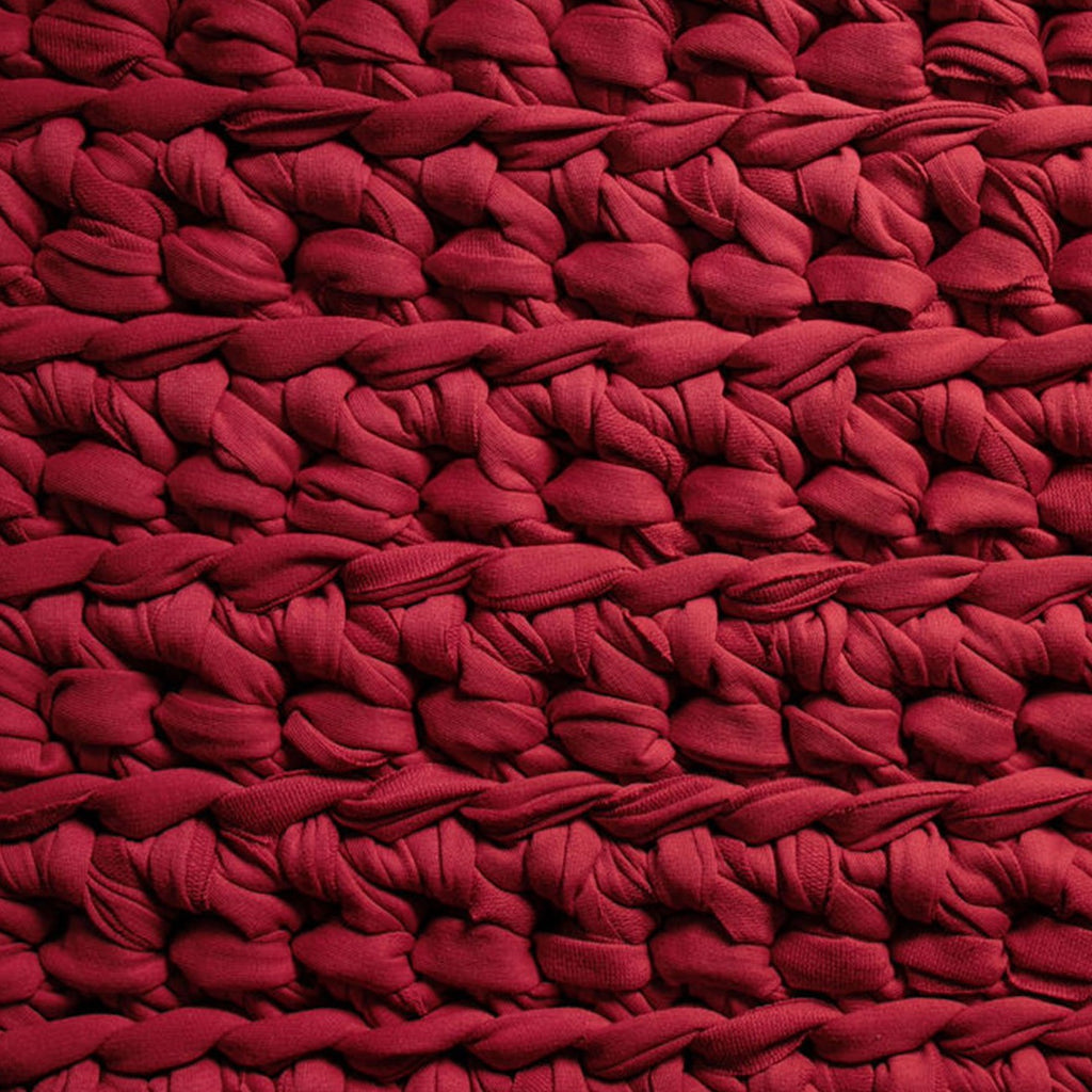 red handmade crocheted weighted blanket