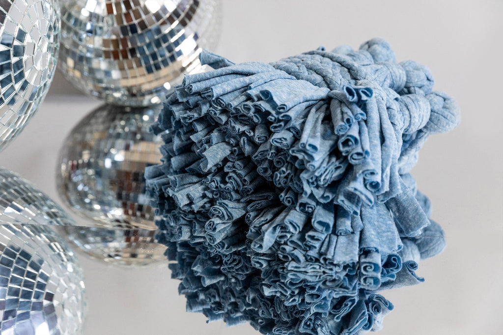 light blue recycled cotton fabric garland for home and party decoration