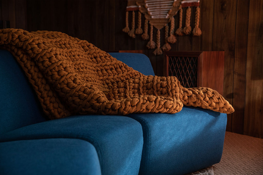 copper handmade crocheted weighted blanket