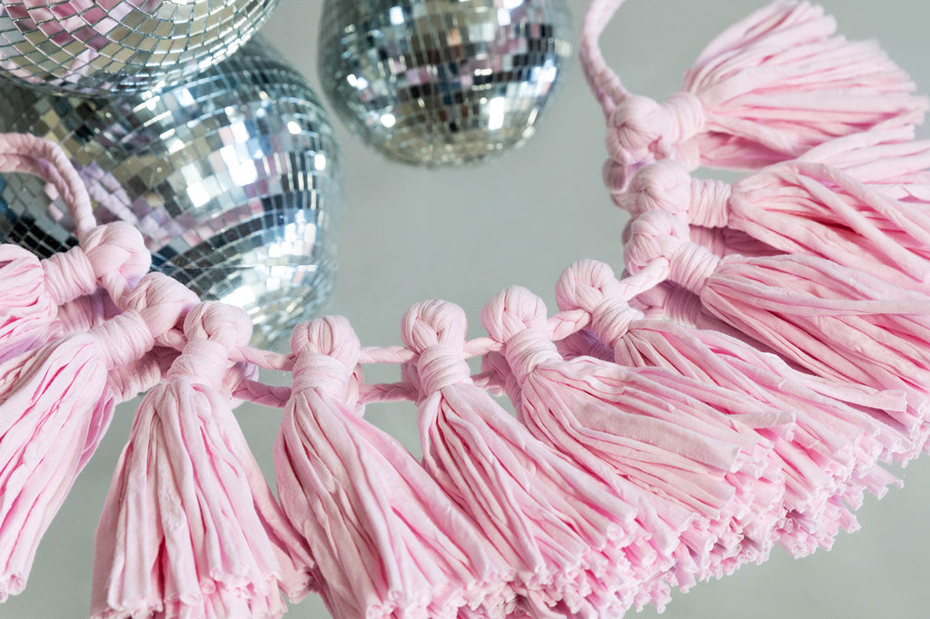 pink recycled cotton fabric garland for home and party decoration