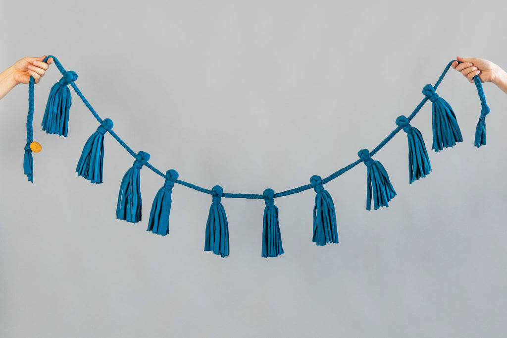 teal blue recycled cotton fabric garland for home and party decoration