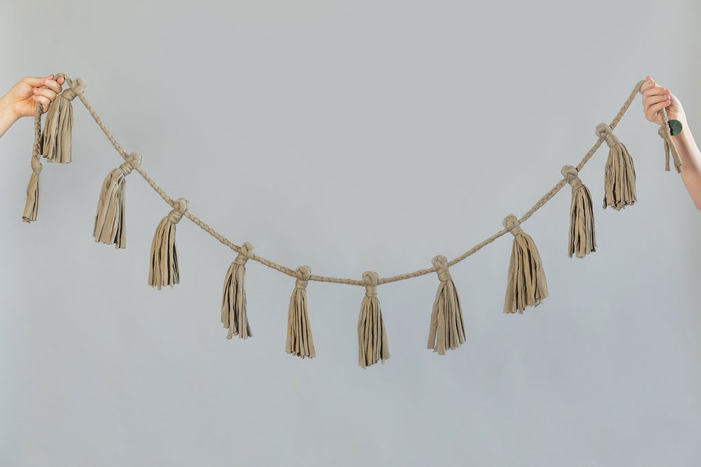 olive green recycled cotton fabric garland for home and party decoration