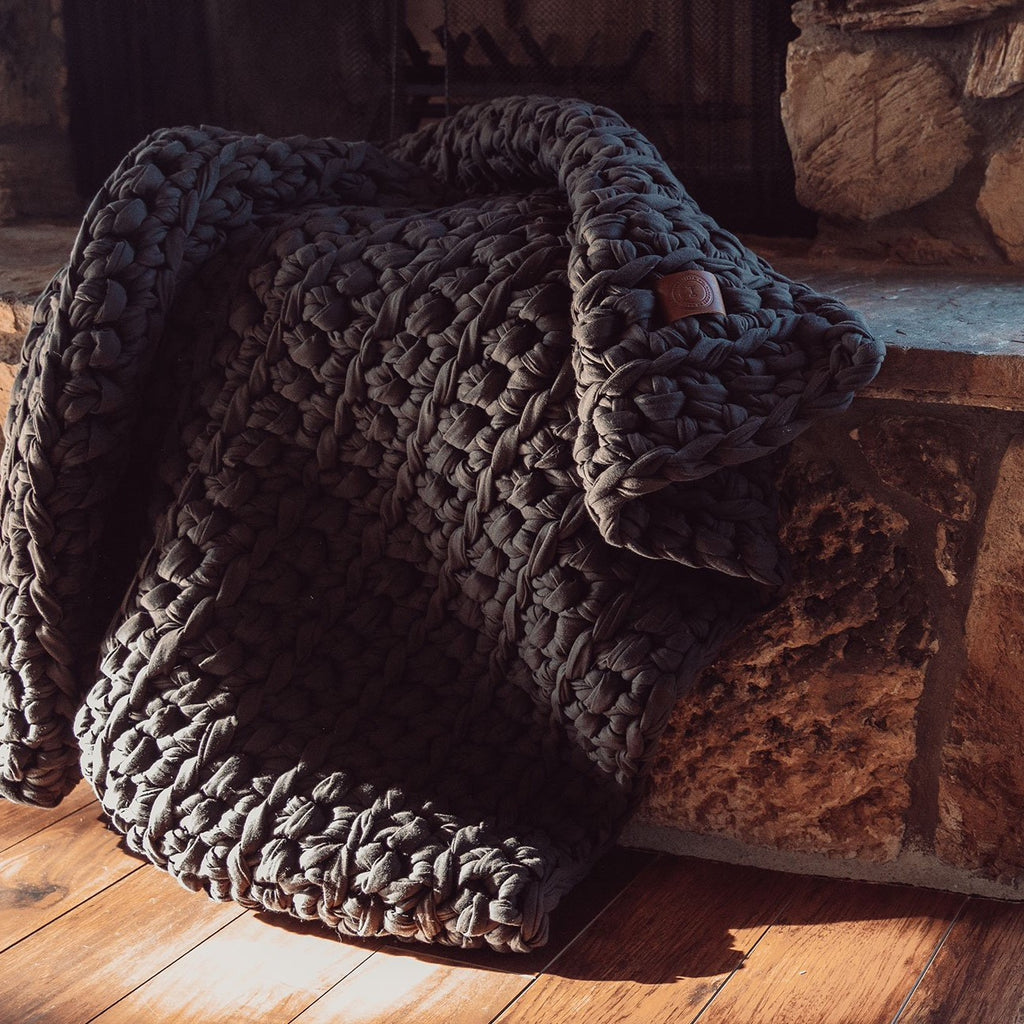 brown handmade crocheted weighted blanket