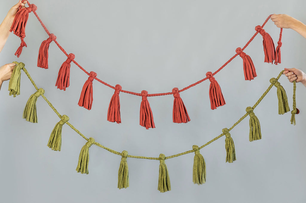 green recycled cotton fabric garland for home and party decoration