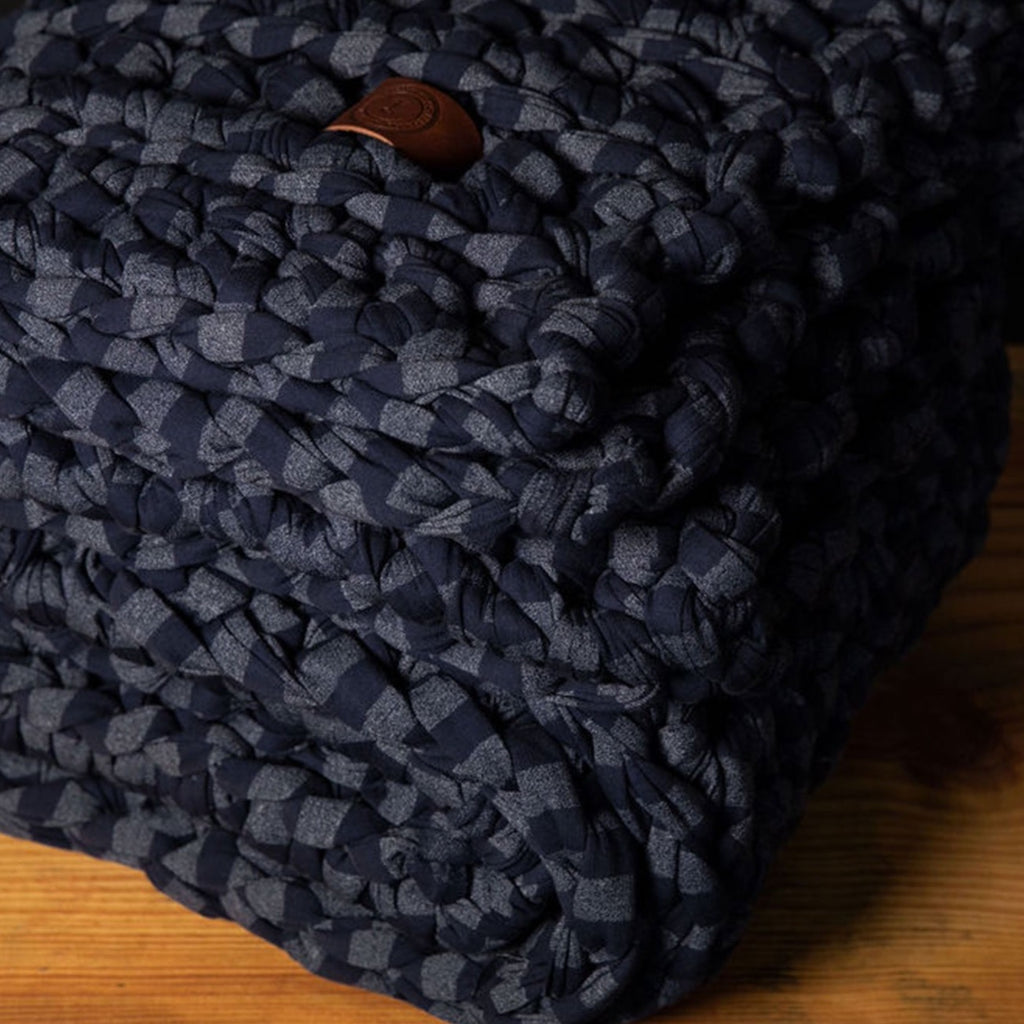 navy striped handmade crocheted weighted blanket