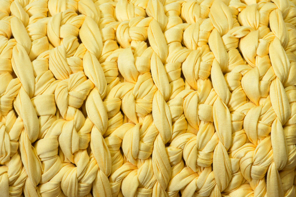 up close pale yellow banana taffy weighted blanket texture