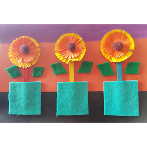 a handmade card by a kid, three paper craft sunflowers and pots made with felt squares